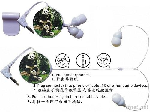Unilateral Retractable Earphone (Stereo Image)